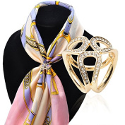 Fashion 3-ring Rhinestone Scarf Ring Clip Slide Buckle Gold