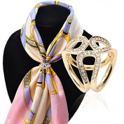 Fashion 3-ring Rhinestone Scarf Ring Clip Slide Buckle Gold