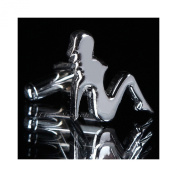 Silver Naked Lady Silhouette Design Cufflinks Cuff-Links