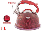 3D Whistling Kettle 3.0 L Stainless Steel Camping Silver/ RED induction / STOVE TOP KETTLES