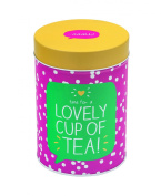 Happy Jackson Round Caddy - Pink & White Polka Dots Time for a LOVELY CUP OF TEA! - Fun Coffee Canister / Kitchen Storage Container