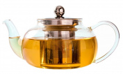 600ml Hand Blown Glass Teapot with Removable Stainless Steel Infuser