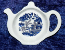 Blue Willow teabag tidy - BONE CHINA tebag tidy with blue willow design