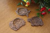 Hand Carved Wooden Tea Coaster Holder Animal Design Set of 3 Tea Matt Kitchen Accessories