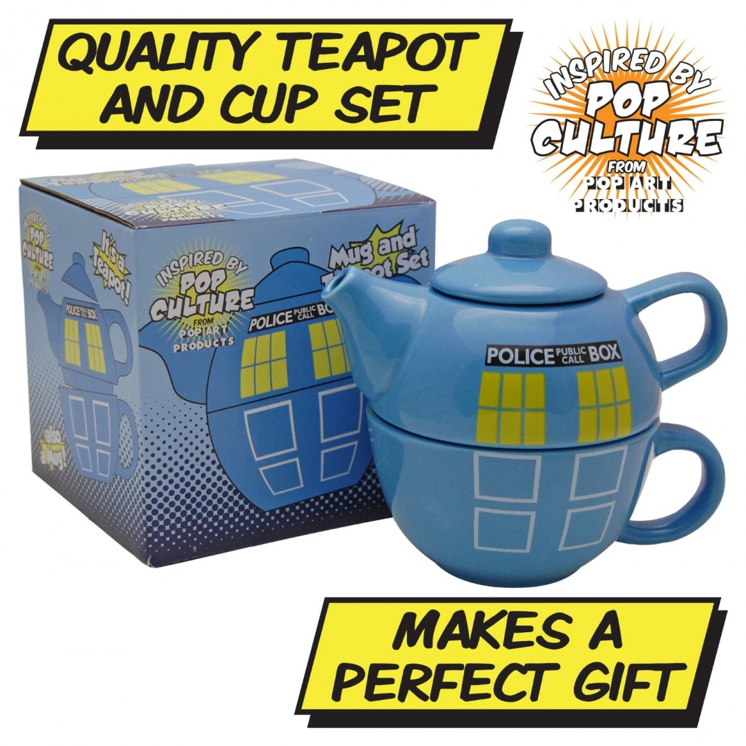 Who Police Phone Box Teapot For One Tardis Tea Pot And Cup Set Doctor Blue By Pop Art S Kitchen In New Zealand