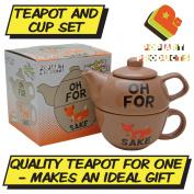 FOR FOX SAKE TEAPOT FOR ONE - Novelty Tea Pot and Cup Set - Funny Saying Profanity Visual Pun BROWN