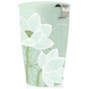 Tea Forte KATI Single Cup Loose Leaf Tea Brewing System, Insulated Ceramic Cup with NEW Tea Infuser and Lid, Lotus