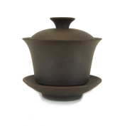 The Tea Makers of London Traditional Chinese Gaiwan - Non Glazed - 120ml - Purple Sand (Yixing Clay) Pottery Bowl with Lid for Steeping and Drinking Tea