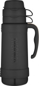 Thermos 1000Ml Eclipse Glass Vacuum Flask Black Hot Cold Food And Drinks Tumbler