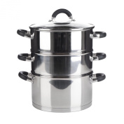 Premium Quality 3 Tier Induction Compatible Stainless Steel Steamer Pot Set With Glass Lid - 20cms