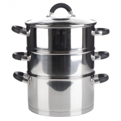 Premium Quality 3 Tier Induction Compatible Stainless Steel Steamer Pot Set With Glass Lid - 24cms