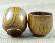 Top-Grade Natural Solid Wood Wooden Tea Cup Wine Mug 50ml, Set of 4