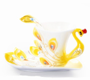 Hand Crafted Porcelain Enamel Delicate Peacock Tea Coffee Cup Set with Saucer and Spoon Yellow
