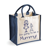 Medium Jute Bag I'm Going To Be A Mummy Navy Blue Bag Mothers Day New Mum Birthday Christmas Present