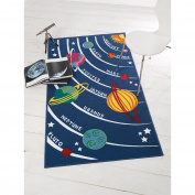 Just Contempo Kids Planets Rug, Blue, 80x120 cm