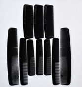 Black Assoted Combs (Set Of 10 Combs) Professional Pocket Thin Thick With Handle