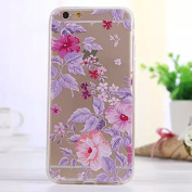 iGrelem® iPhone 6 6s Case [ with Free Tempered Glass Screen Protector ], Ultra Thin TPU Soft Cover for Apple iPhone 6 12cm , Colourful Pattern Design Jelly Protective Case for iPhone 6 12cm - Flowers, #1