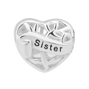 Heart I Love Sister Charm Sterling Silver Cheap Family Tree Beads Fit Pandora Charm Bracelets