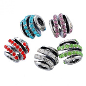 Souarts Silver Colour Mixed Screw Shape Rhinestone European Beads for Charms Bracelet Pack Of 5Pcs
