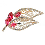 Stylised Leaf and Buds Brooch Pin Jewellery on Anexquisite Setting Combining Pear Drop and Round Crystals, Janeo Jewels