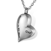 """HOUSWEETY Cremation Jewellery Stainless Steel """"Forever In My Heart"""" Heart Urn BFF Necklace Family Pendant- Memorial Ash Keepsake"""