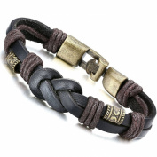 "【SEASON SALE】Halukakah ""RETRO"" Men's Leather Bracelet Vintage Style Rope Knit 8.66""/22cm with FREE Giftbox"