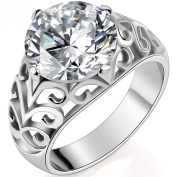 JewelryWe New Classic Brilliant Cut 6.5 Carat Cubic Zirconia Stainless Ring Band for Promise, Anniversary, Engagement and Wedding