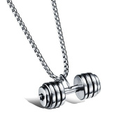 UM Jewellery Mens Stainless Steel Necklace Fitness Dumbbell Barbell Pendant and Round Box Chain