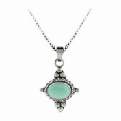 Sterling Silver Bali Beaded Genuine Variscite Stone East West Pendant