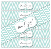 """24 Chevron """"Thank You"""" Waterproof Water Bottle Labels, Printed and Ready to Apply. Wedding Gift Bags, Welcome Bags, Party Favours, Events"""