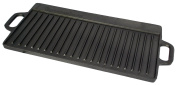 Buckingham 51 x 23 cm Pre-Seasoned Cast Iron Reversible Grill Plate/Grill Pan/Griddle, Black