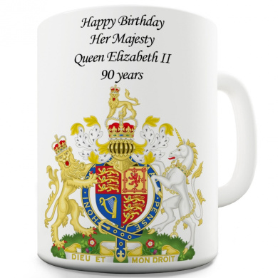 Twisted Envy Collectable, Queen's 90th Birthday Commemorative Ceramic Coffee Mug