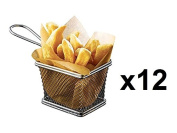 Set of 12 - Mini Chrome Chip Frying Fry Serving Basket 10 x 8 x 7cm ¦ Ideal for Chips, Fries, Wedges, Onion Rings & Food Presentation - Great for Entertaining Family & Guests by Kitchen Stars