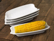 Set of 4 White Porcelain Corn on the Cob Dishes