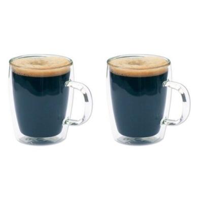 2 x Double Wall Bistro Glass Mugs - Coffee / Tea - 300ml - SALE PRICE!