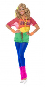 Smiffy's Let's Get Physical Girl Costume with Leotard, Crop Top, Shorts and Headband - Large