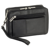 Luxury Men's Wrist Briefcase with Smartphone Compartment Made From Fine nappa leather in black