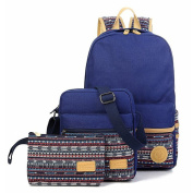 SymbolLife Casual Style Lightweight Canvas Laptop Bag/ Shoulder Bag/ Bookbag/ School Backpack with Cross-body Bag and Purse/Pen Bag with Embroidery Design, Dark Blue
