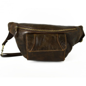 Genuine Leather Man Bum Bag With Front Pocket Colour Dark Brown - Leather Goods Made In Italy - Man Bag
