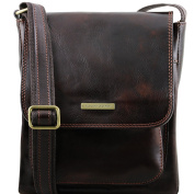 Tuscany Leather Jimmy - Leather crossbody bag for men with front pocket Dark Brown Leather bags for men