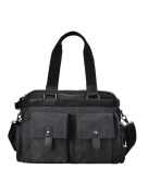 Douguyan Men's Fashion Canvas Shoulder Bag Handbag Cross Body Briefcases Totes Duffel Top Handle Bags 203 Black