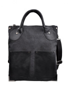Douguyan Men's Fashion Canvas Tote Shoulder Bag Handbag Cross Body Briefcases Top Handle Bags 202 Black