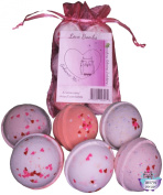 NEW Love and Hearts Bath Bombs, 6 Bomb Gift Set For Romance and Passion