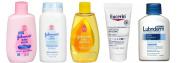 Johnson's Pure Cornstarch Baby Powder + Baby Shampoo + Baby Lotion + Lubriderm Daily Moisture + Eucerin Cream Travel Size