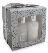 BRUBAKER 3 Pcs Gift Set 'Vanilla' Beauty Spa Set Silver Shower Gel, Body Lotion, Sponge
