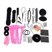 Sanwood 20Pcs Bun Maker Roller Braid Twist Elastics Pins Hair Design Styling Tools Kit