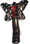Small Butterfly Hair Clip with Red Rhinestones - J182