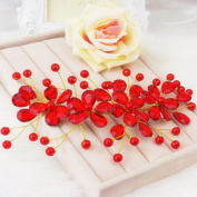 Polytree Women's Red Flower Wedding Bridal Party Accessary Handmade Hair Pin Clip Jewellery