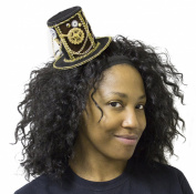 10cm Velvet Steampunk Top Hat Hair Clip with Gears and Chains
