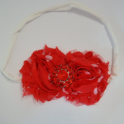 Chicky Chicky Bling Bling Red dot Chic Shabby Bow Headbands on thin cotton headband Womens Red and White